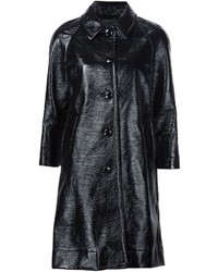 Manteau en cuir bleu marine Marc Jacobs