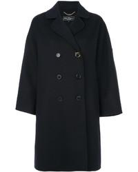 Manteau en cuir bleu marine Salvatore Ferragamo