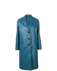 Manteau en cuir bleu Prada