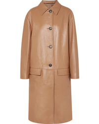 Manteau en cuir marron clair Prada