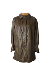 Manteau en cuir marron foncé