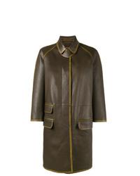 Manteau en cuir marron foncé Prada