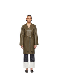 Manteau en cuir olive Loewe
