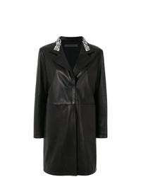 Manteau en cuir orné noir Simonetta Ravizza