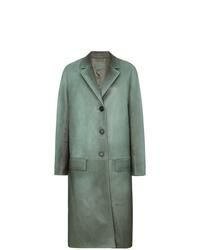 Manteau en cuir vert menthe Prada