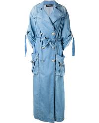 Manteau en denim bleu clair Balmain