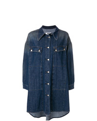 Manteau en denim bleu marine MM6 MAISON MARGIELA