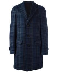 Manteau en laine à carreaux bleu marine Salvatore Ferragamo