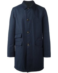 Manteau en laine bleu marine Kiton