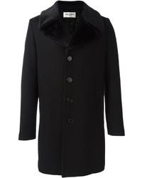 Manteau en laine noir Saint Laurent