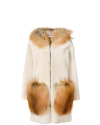 Manteau en peau de mouton retournée beige Inès & Marèchal