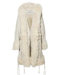 Manteau en peau de mouton retournée beige Loewe