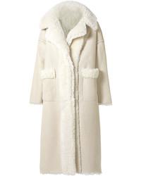 Manteau en peau de mouton retournée beige Oscar de la Renta