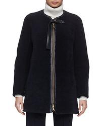 Manteau en peau de mouton retournée bleu marine Chloé