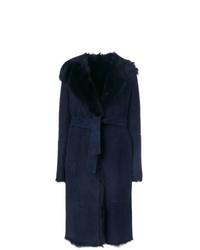 Manteau en peau de mouton retournée bleu marine Joseph
