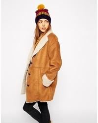 Manteau en peau de mouton retournée brun clair Asos