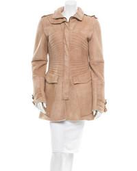 Manteau en peau de mouton retournée brun clair Gucci