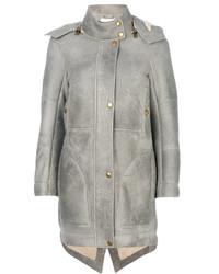 Manteau en peau de mouton retournée gris