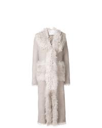 Manteau en peau de mouton retournée gris Giada Benincasa