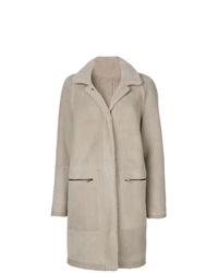 Manteau en peau de mouton retournée gris Plume Sprung Fréres