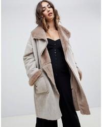Manteau en peau de mouton retournée gris Religion