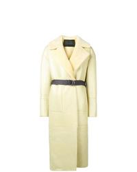 Manteau en peau de mouton retournée jaune Blancha