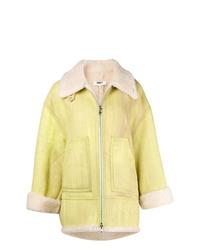 Manteau en peau de mouton retournée jaune MM6 MAISON MARGIELA