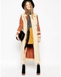 Manteau en peau de mouton retournée marron clair Asos