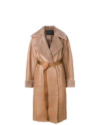 Manteau en peau de mouton retournée marron clair Blancha