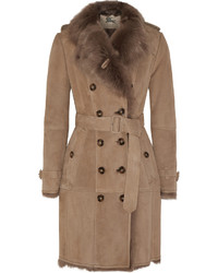 Manteau en peau de mouton retournée marron clair Burberry