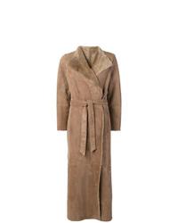 Manteau en peau de mouton retournée marron clair Eleventy