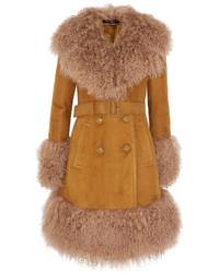 Manteau en peau de mouton retournée marron clair Gucci