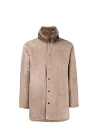 Manteau en peau de mouton retournée marron clair Liska