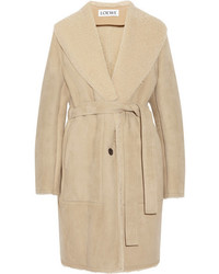 Manteau en peau de mouton retournée marron clair Loewe
