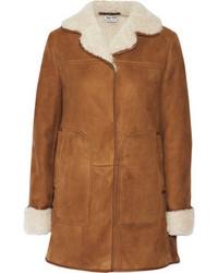 Manteau en peau de mouton retournée marron clair Miu Miu