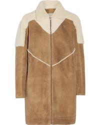 Manteau en peau de mouton retournée marron clair Paul & Joe