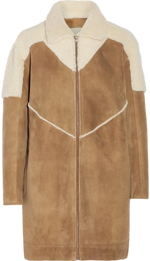 Manteau en peau de mouton retournée brun clair Paul & Joe