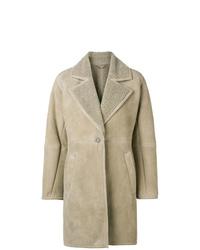 Manteau en peau de mouton retournée marron clair Salvatore Ferragamo