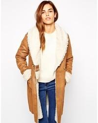 Manteau en peau de mouton retournée marron clair Urban Code