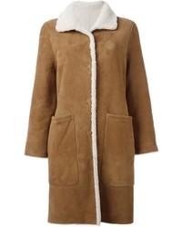 Manteau en peau de mouton retournée marron clair Yves Salomon