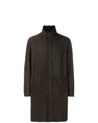 Manteau en peau de mouton retournée marron foncé Emporio Armani