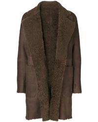 Manteau en peau de mouton retournée marron foncé Vince