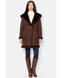 Manteau en peau de mouton retournée marron