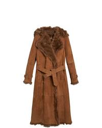 Manteau en peau de mouton retournée marron Burberry