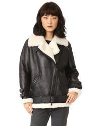Manteau en peau de mouton retournée noir et blanc Acne Studios
