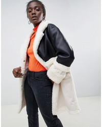 Manteau en peau de mouton retournée noir et blanc ASOS DESIGN