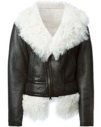Manteau en peau de mouton retournée noir et blanc Neil Barrett