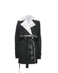 Manteau en peau de mouton retournée noir et blanc Unravel Project