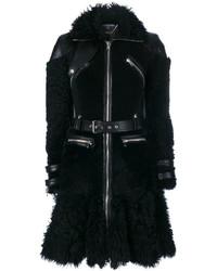 Manteau en peau de mouton retournée noir Alexander McQueen
