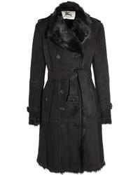 Manteau en peau de mouton retournée noir Burberry